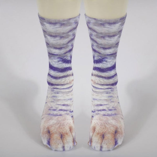 Purple Striped Animal Paw Socks