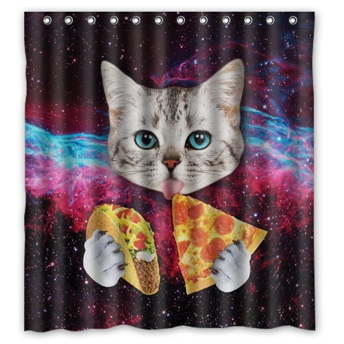 Taco and Pizza Space Cat Shower Curtain