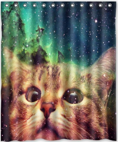 Space Kitty Shower Curtain
