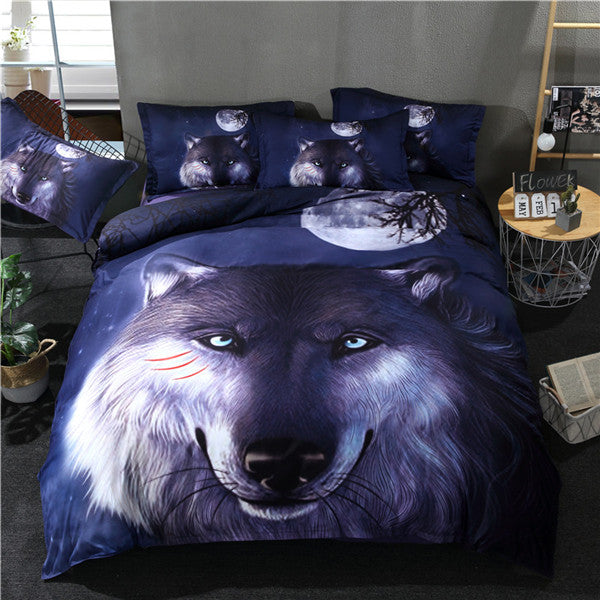 Big Face Wolf Moon Bedding Set