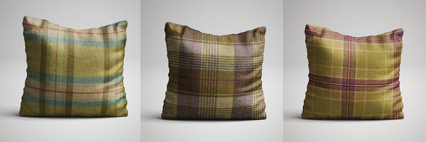 Check Print Cushions Handmade in Yorkshire from Abraham Moon Fabric
