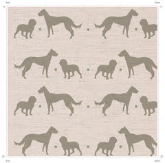 Working Dogs Print Fabric - Lurcher and Cocker Spaniel Print Fabric from F&B Crafts