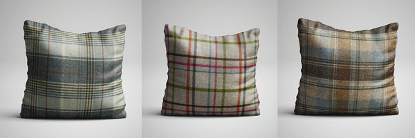 Check Print Cushions From Abraham Moon - Handmade in Yorkshire by F&B