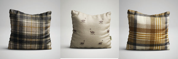 Grouse and Mustard Cushion - Abraham Moon For Country Home Decor
