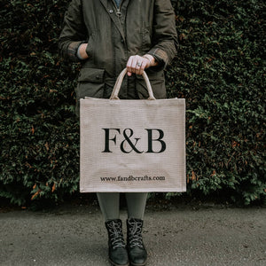 F&B branded jute bag - Large shopping bag perfect for carrying all of your essentials