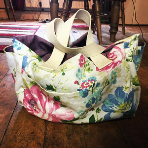 Handmade Floral Handbag - Made in Yorkshire - Holdall - Multi Pockets