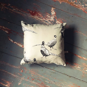 Pheasant Print Cushion - Black and White Pheasant Print on Stone Coloured Fabric - Handmade in Yorkshire