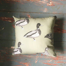 Feversham Duck Cushion - Farrow and Ball Sage Background - Handmade in Yorkshire - Country Home Decor - Country Print