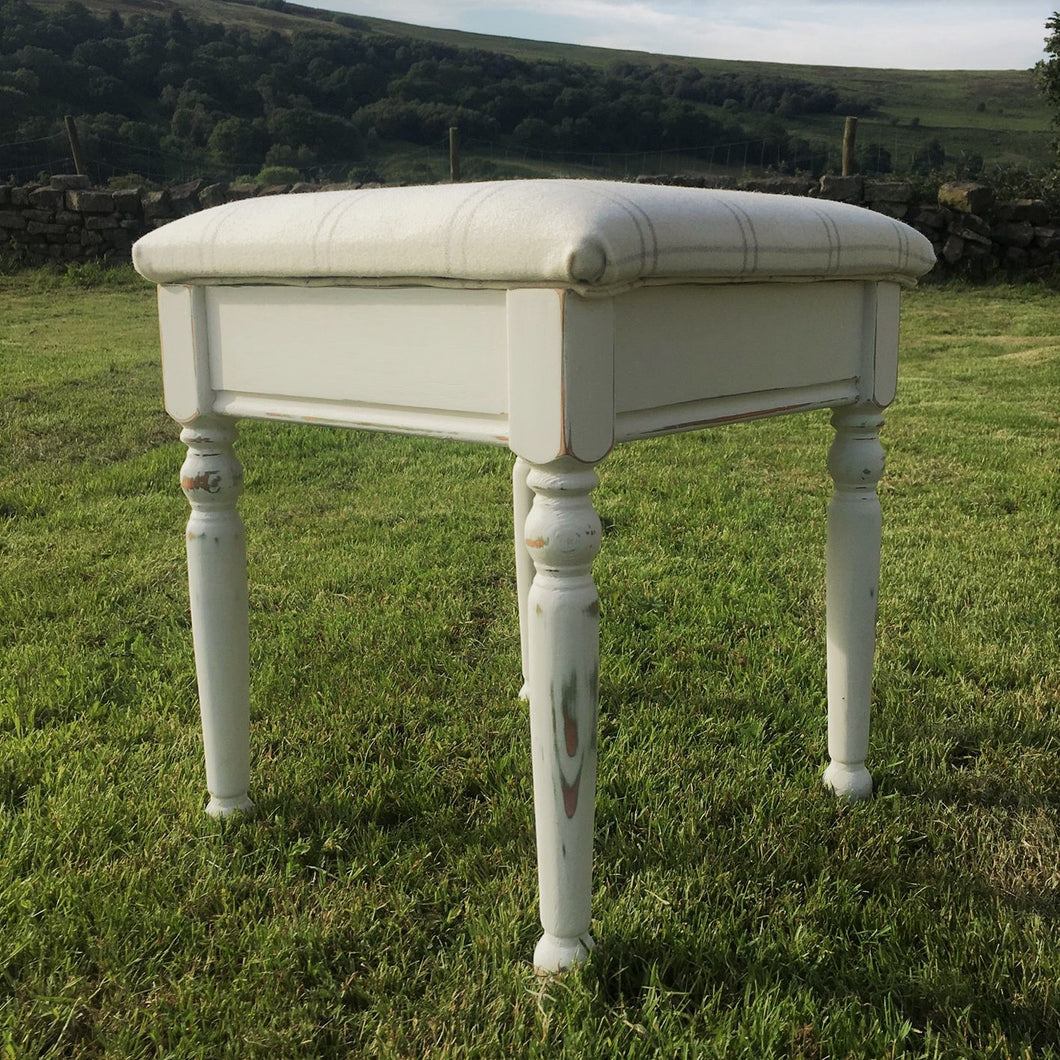 Cream and White Stool With Grey Check Fabric - Handmade in Yorkshire - Shabby Chic Furniture