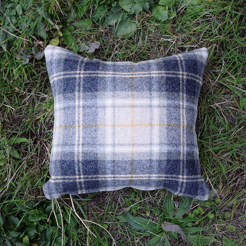 Tweed Tartan Cushion, Grey and Cream - Abraham Moon - Made by Bethany Todd for F&B International