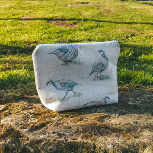 Partridge Washbag - Handmade in Yorkshire by Bethany Todd - Country Print Wash Bag Male Up Bag - British Bird Print