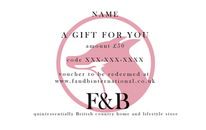£50 Gift voucher for country home and lifestyle store F&B - handmade in yorkshire