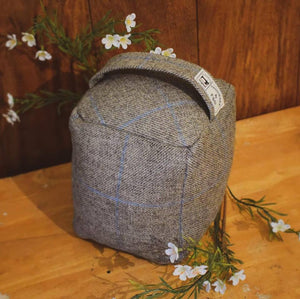Light Grey and Blue Check Doorstop - Tweed Doorstop Handmade in Yorkshire - Cube Doorstop - Heavy Doorstop - Country Home Decor