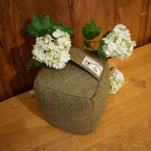 Light Green Blue and Pink Tweed Doorstop - Handmade by F&B in Yorkshire