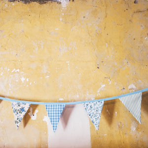 Pastel Blue Bunting with floral, gingham and stripe fabrics - perfect for brithdays, christenings, weddings or summer celebrations - double sided 3m length with 10 triangles handmade in yorkshire