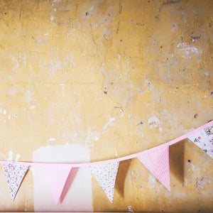 Pastel Pink Bunting Featuring dots, stripes and flowers 10 triangles on a 3m length - handmade in yorkshire by F&B - Bunting for birthdays, christenings, weddings and summer celebrations