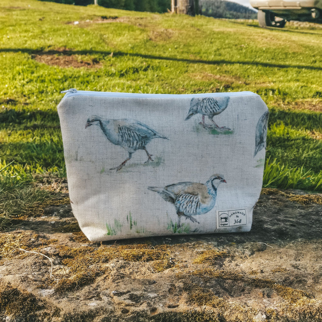 Partridge Print Linen - Make Up Bag - British Birds - Country Wash Bag - Handmade in Yorkshire - Make Up Bags