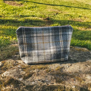 Mustard Tartan Washbag perfect for travelling men - mens gifts made in yorkshire - handmade washbags made in the UK - Tartan Print