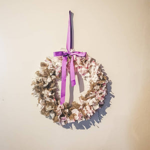 light pink and hessian burlap fabric wreath - handmade in yorkshire - F&B - home decor - nursery decor
