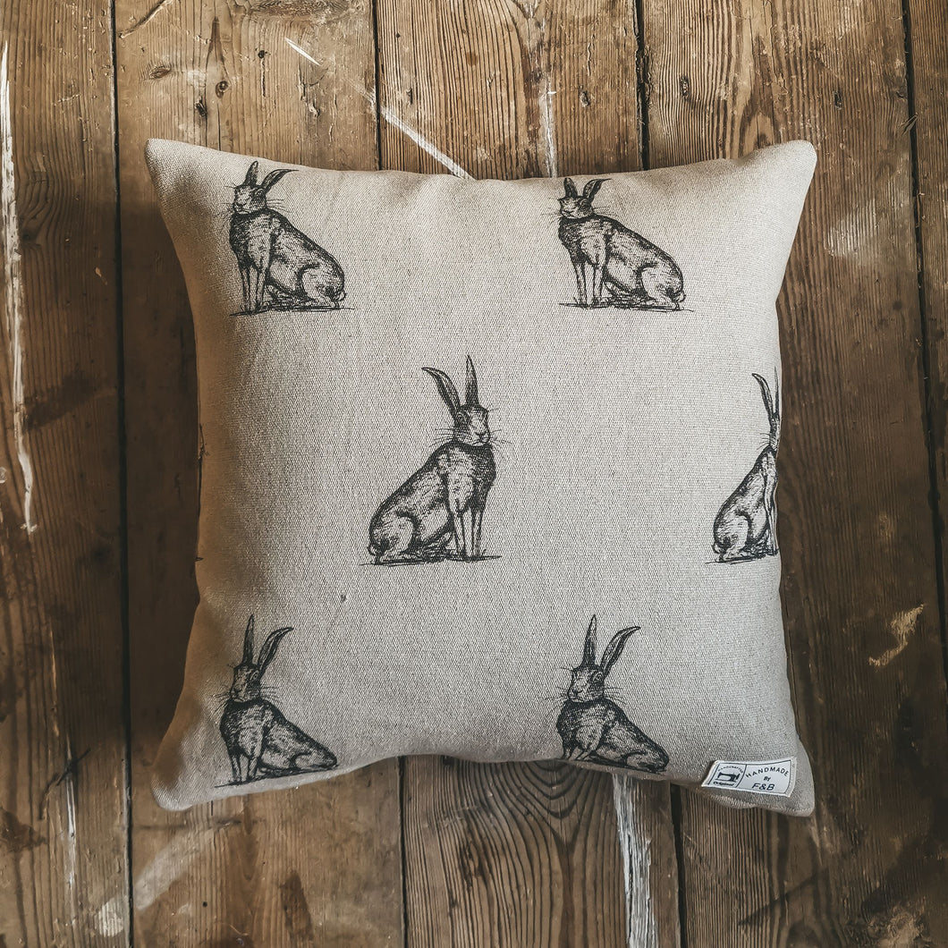 Woodland Friends Hare Print Cushion - Handmade in Yorkshire - F&B international - Made by Bethany Todd
