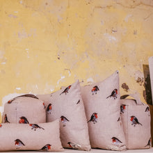 Robin Print Cushions - Autumn and winter country home, farmhouse decor - Handmade in Yorkshire