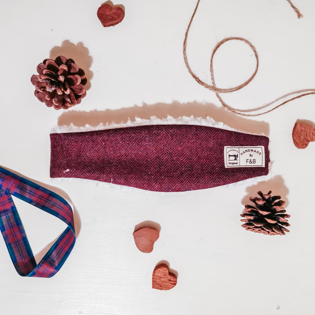 Burgundy or Wine Herringbone Tweed Headwarmer - Ear Warmer - Tweed Headband - Handmade in Yorkshire by F&B - Country clothing