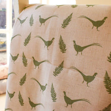 Pheasant Print Fabric - Featuring Cock Pheasants and Fern Leaves - Designed by F&B and inspired by Yorkshire