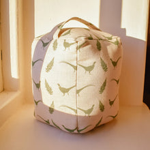 Doorstops inspired by and handmade in Yorkshire by F&B - Pheasant and Fern print fabric designed by F&B