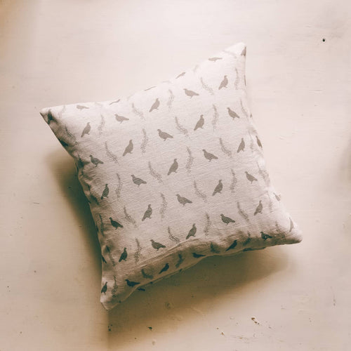 Grouse & Heather Linen Background Cushion
