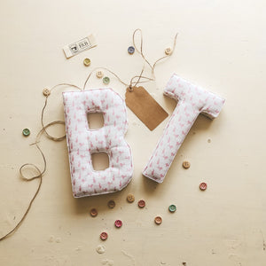 B T - Fabric Initials for the alphabet - handmade by F&B in dainty country prints featuring hares and other cute country designs