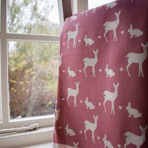 Deer & Rabbit Solid Background Cushion