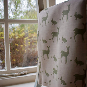 Roe Deer and Rabbit Print Fabric - Hovingham Green - Desgined by F&B in Hovingham - Yorkshire Based Interiors