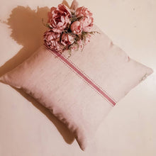 Blush Rose Linen Cushion Featuring Centre Stripe and Dots - Designed by F&B Inspired by vintage french prints - made in yorkshire