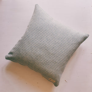 Light Blue Dogstooth Tweed Cushion