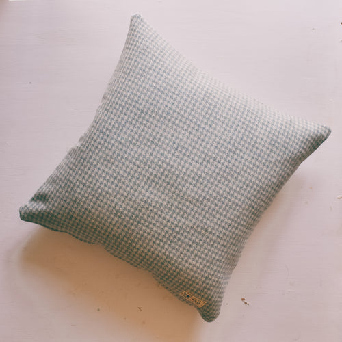Sale Light Blue Dogstooth Tweed Cushion