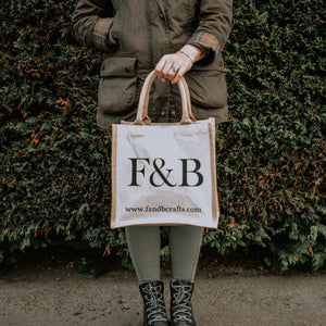 The perfect country accessory for your essentials - printed in Yorkshire we love our F&B jute shopping bags