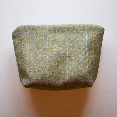 Green light blue and pink tweed wash bag handmade by F&B
