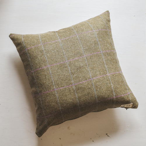 Light Green Blue and Pink Check Tweed Cushion Handmade by F&B International Country Home Decor - Country Living - Tweed Cushion