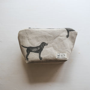 Labrador  Print Washbag - Handmade in Yorkshire by F&B - Make Up Bag Perfect for Dog Lovers