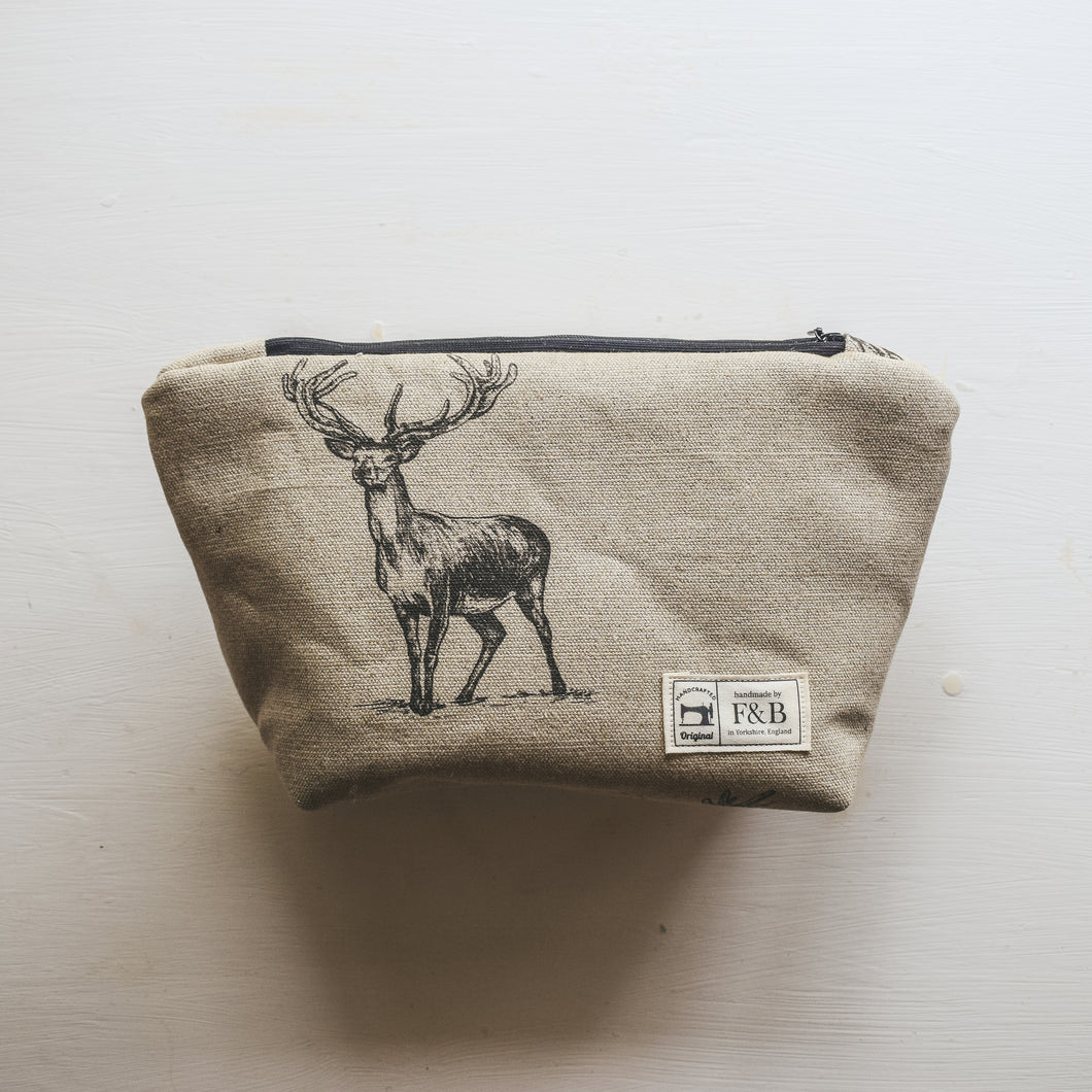 Handmade Stag Print Wash Bag - Crafted by F&B in Yorkshire - the perfect country gift