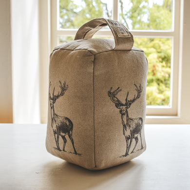 Stag Print Doorstop - Linen Coloured Fabric - Handmade in Yorkshire England - Country Home Farmhouse Decor
