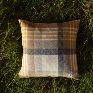 "14"" Mustard, Grey and Cream Check Tartan Wool Fabric Cushion"