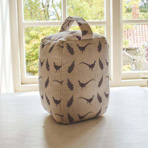 Grey Pheasant & Fern Print Doorstop - Handmade in Yorkshire and Designed by F&B - Pheasant Door Stop Country Living Country Home Decor