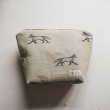 F&B Handmade Fox Print Linen Wash Bag or Make Up Bag - Made with Love by Beth and Waterproof Lined