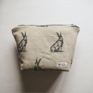Ink drawing hare print wash bag or make up bag - waterproof lined and handmade in Yorkshire by F&B