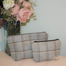 Light Blue Grey and Yellow Check Washbag - Handmade in Yorkshire by F&B
