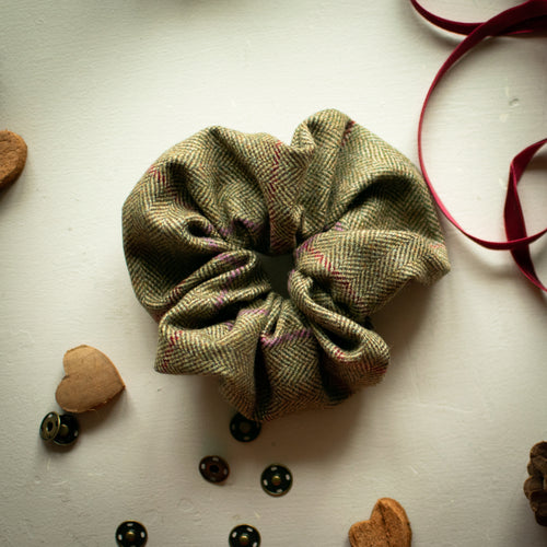 Khaki red and pink tweed scrunchie handmade in yorkshire by F&B