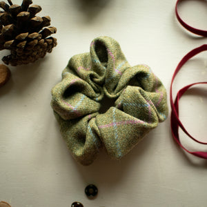 Light Green Blue & Pink check tweed scrunchie handmade by F&B - Made in yorkshire - country clothing accessories