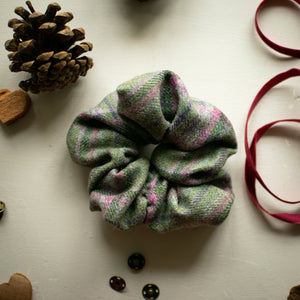 Meadow - Green and Pink Tweed Scrunchie Handmade by F&B - Country Clothing