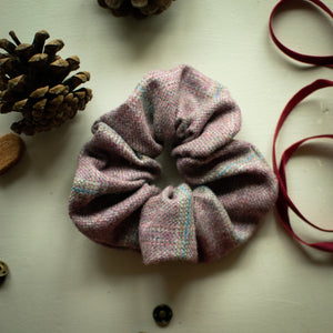 Pink & Purple Rosefinch Tweed Scrunchie Handmade by F&B - Country Clothing & Accessories